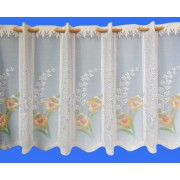 DAFFODIL CAFE NET - 60cm DROP - COLOUR PRINTED FLOWER - CUT TO WIDTH - SOLD BY THE METRE