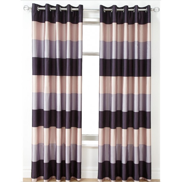 PRINTED SLUBBED FAUX SILK LINED CURTAINS - FEATURING HORIZONTAL ...