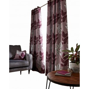 BLAKELY – WOVEN JACQUARD METALIC LEAF LINED CURTAIN – EYELET RING TOP