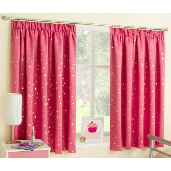 Moon Stars Pink Blue Printed Bedroom Curtains Recommended