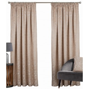 BUCKINGHAM – DAMASK JACQUARD – FANTASTIC VALUE - Lined Curtain, Tape Top, Leaf Damask Jacquard – Contemporary Design - Best Seller.