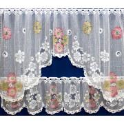 LILY - JARDINERE WINDOW SET - CORAL, BLUE, LAVENDER FLOWERS
