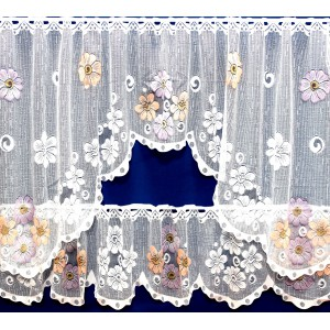 LILY - JARDINERE WINDOW SET - CORAL, BLUE, LAVENDER FLOWERS
