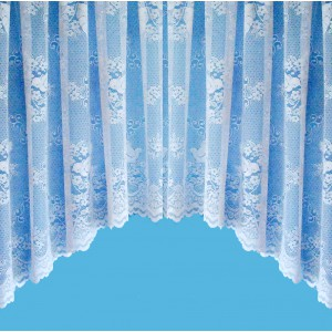 LOVE BIRDS JARDINIERE CURTAIN - JACQUARD LACE WITH SCALLOPED BASE