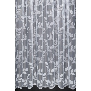 AUTUMN LEAVES – Leaf design Net Curtain with Scalloped Base. Sold by the Metre. Cut to Width.
