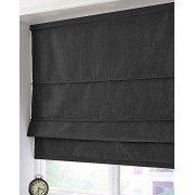 BLACKOUT ROMAN BLIND - MADE IN FAUX SILK - BLACK