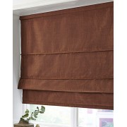 BLACKOUT ROMAN BLINDS - MADE IN FAUX SILK - CHOCOLATE