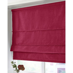 BLACKOUT ROMAN BLIND - MADE IN FAUX SILK - CRANBERRY