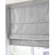 BLACKOUT ROMAN BLIND - MADE IN FAUX SILK - SILVER